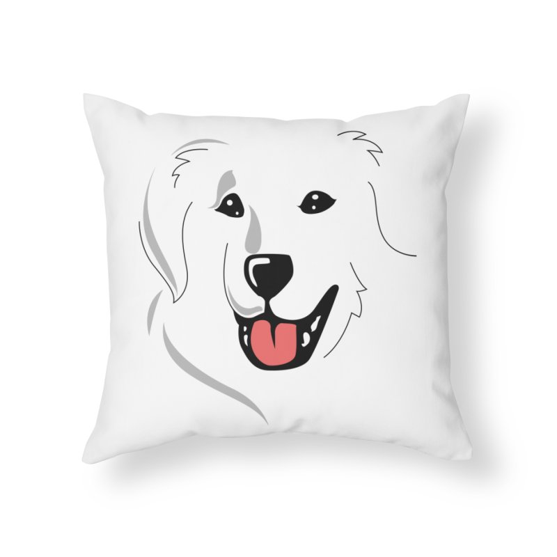 Borderless Happy Pyr on white  Home Throw Pillow by Carolina Great Pyrenees Rescue's Shop