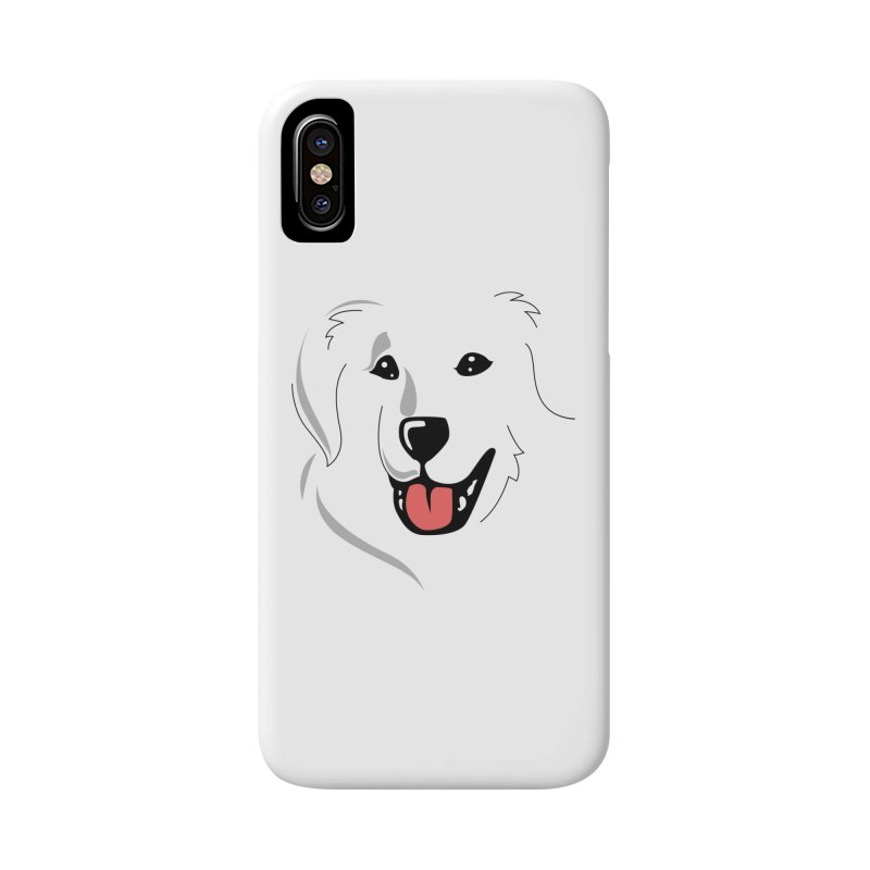 Borderless Happy Pyr on white  Accessories Phone Case by Carolina Great Pyrenees Rescue's Shop