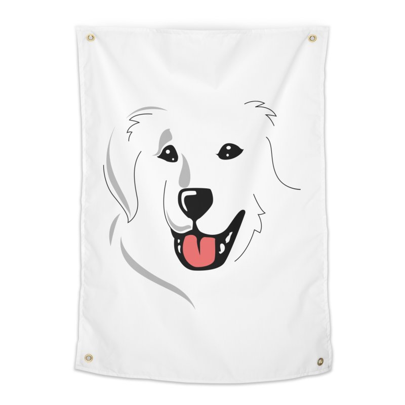 Borderless Happy Pyr on white  Home Tapestry by Carolina Great Pyrenees Rescue's Shop