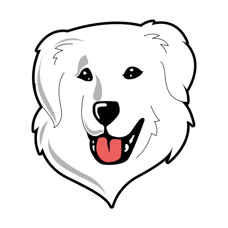 Happy Pyr on white by Carolina Great Pyrenees Rescue's Shop