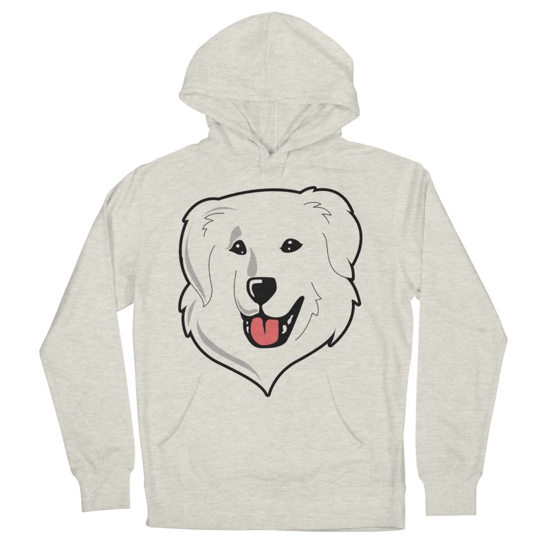 Happy Pyr on white Women's French Terry Pullover Hoody by Carolina Great Pyrenees Rescue's Shop