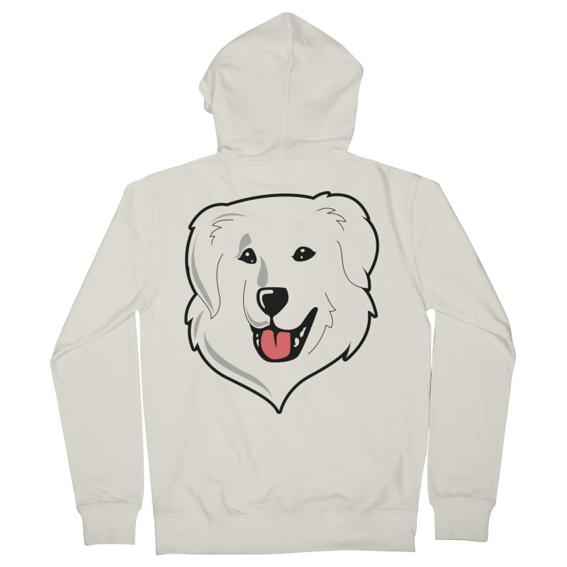 Happy Pyr on white Men's French Terry Zip-Up Hoody by Carolina Great Pyrenees Rescue's Shop