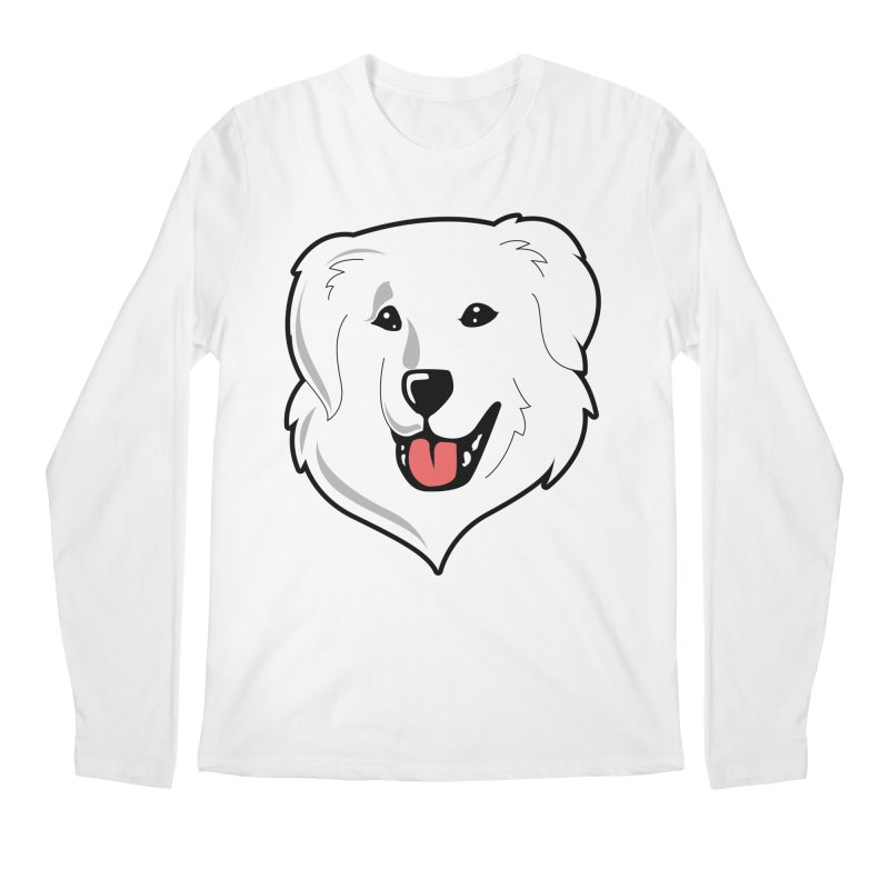 Happy Pyr on white Men's Regular Longsleeve T-Shirt by Carolina Great Pyrenees Rescue's Shop