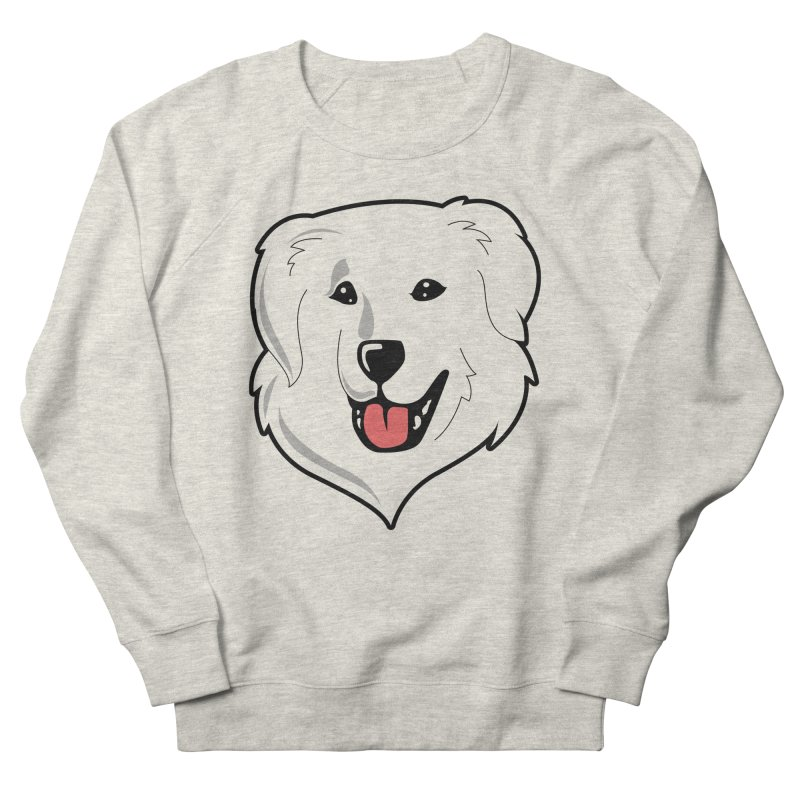 Happy Pyr on white Women's French Terry Sweatshirt by Carolina Great Pyrenees Rescue's Shop