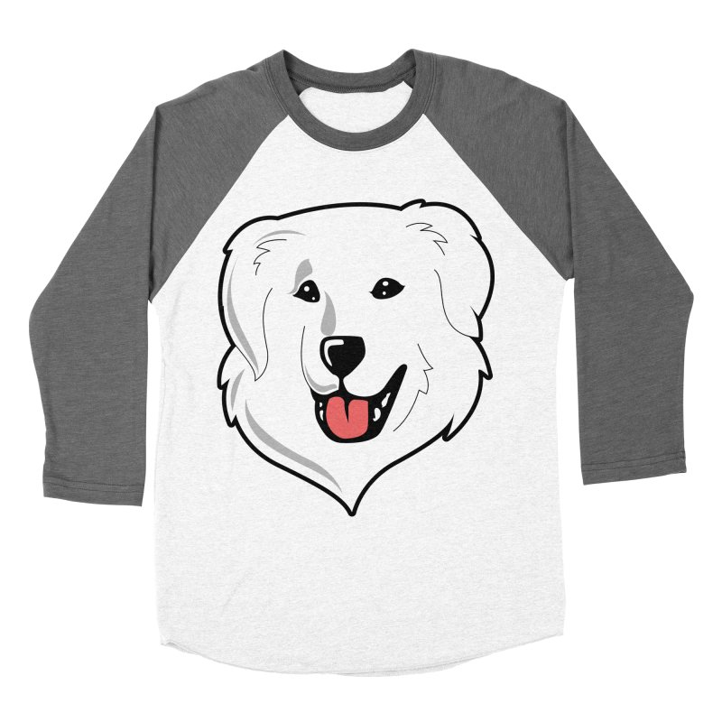 Happy Pyr on white Men's Baseball Triblend Longsleeve T-Shirt by Carolina Great Pyrenees Rescue's Shop