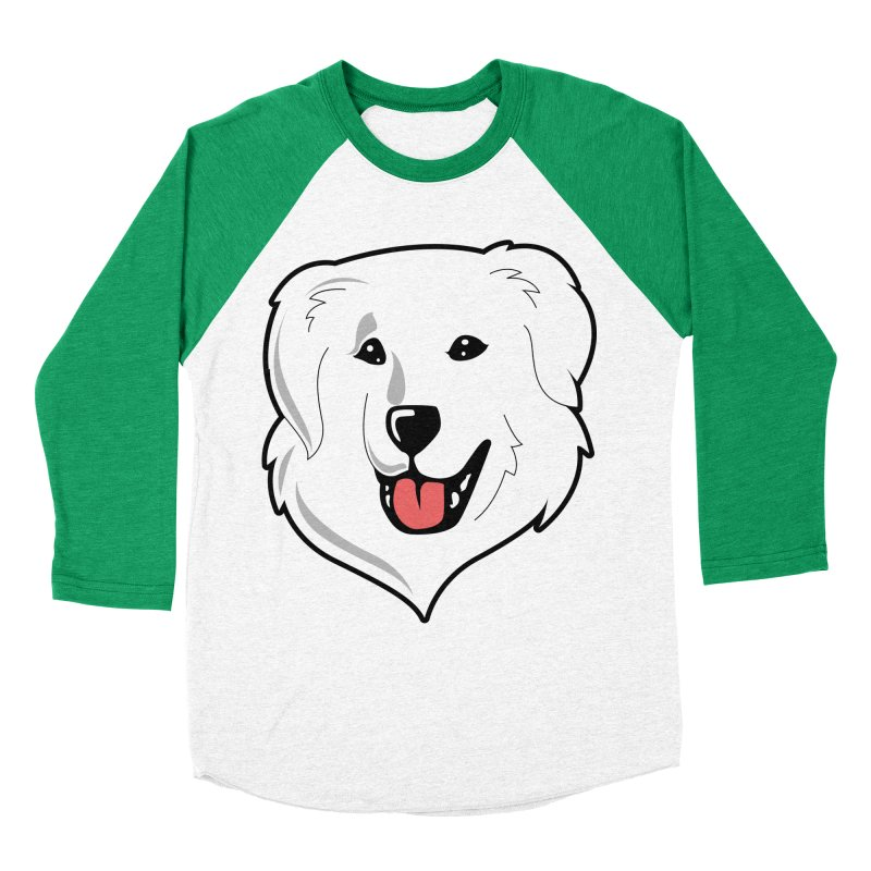 Happy Pyr on white Men's Baseball Triblend T-Shirt by Carolina Great Pyrenees Rescue's Shop