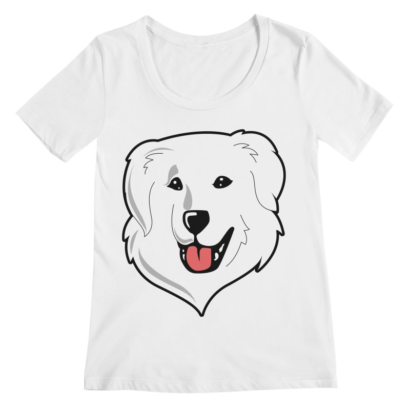 Happy Pyr on white Women's Scoopneck by Carolina Great Pyrenees Rescue's Shop