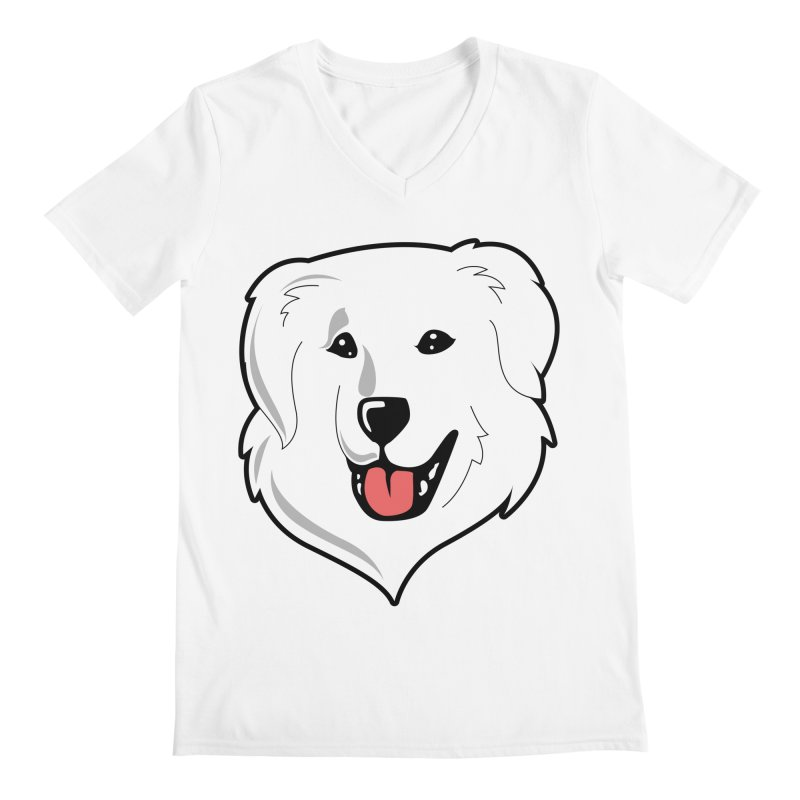 Happy Pyr on white Men's V-Neck by Carolina Great Pyrenees Rescue's Shop