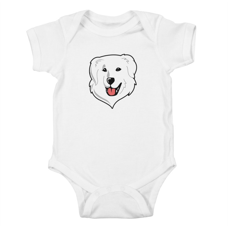 Happy Pyr on white Kids Baby Bodysuit by Carolina Great Pyrenees Rescue's Shop