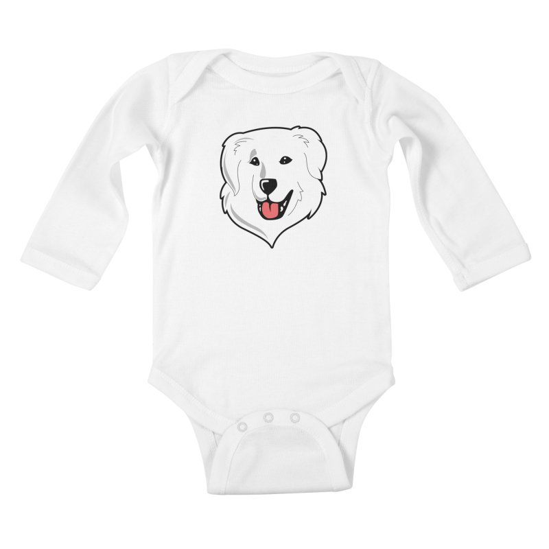 Happy Pyr on white Kids Baby Longsleeve Bodysuit by Carolina Great Pyrenees Rescue's Shop