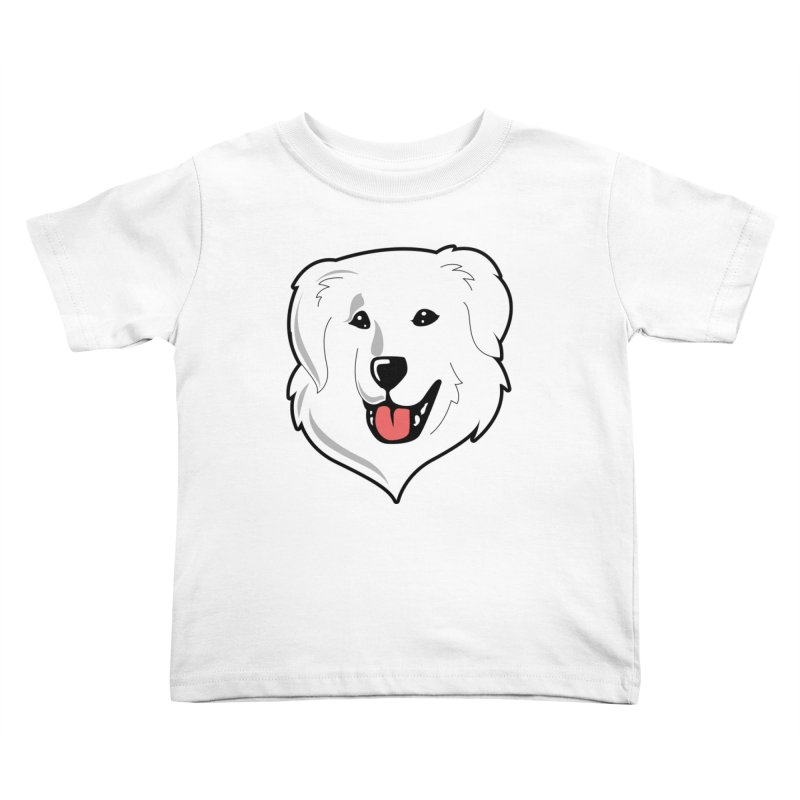 Happy Pyr on white Kids Toddler T-Shirt by Carolina Great Pyrenees Rescue's Shop