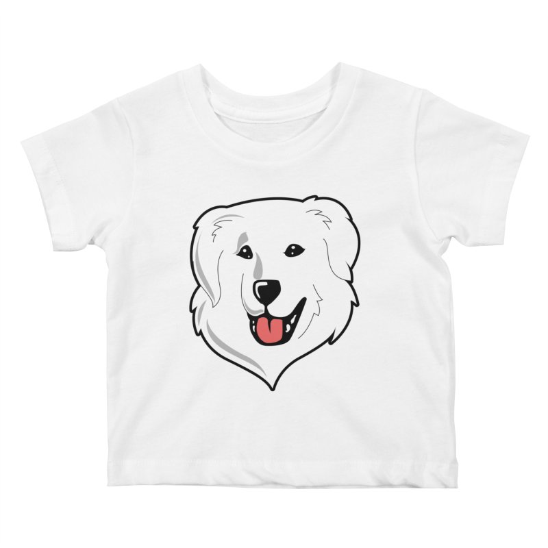 Happy Pyr on white Kids Baby T-Shirt by Carolina Great Pyrenees Rescue's Shop