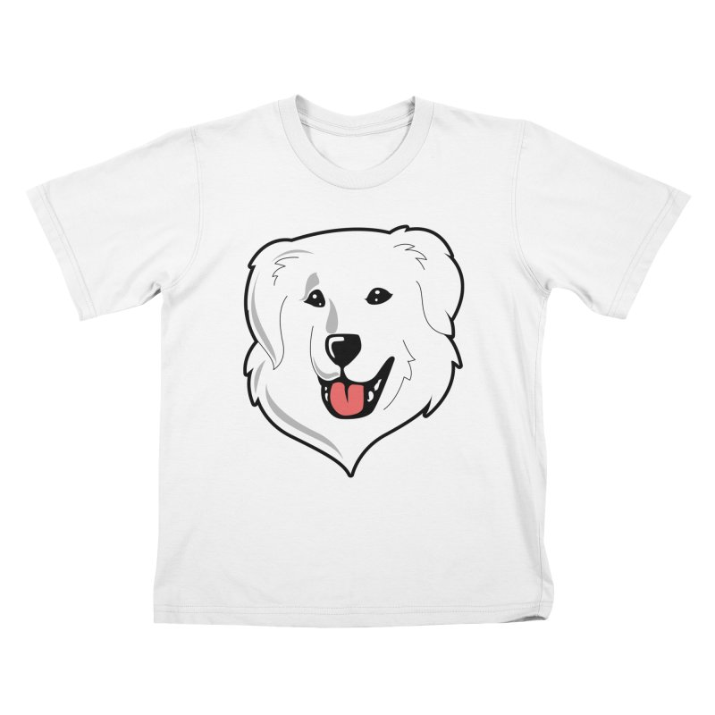Happy Pyr on white Kids T-Shirt by Carolina Great Pyrenees Rescue's Shop