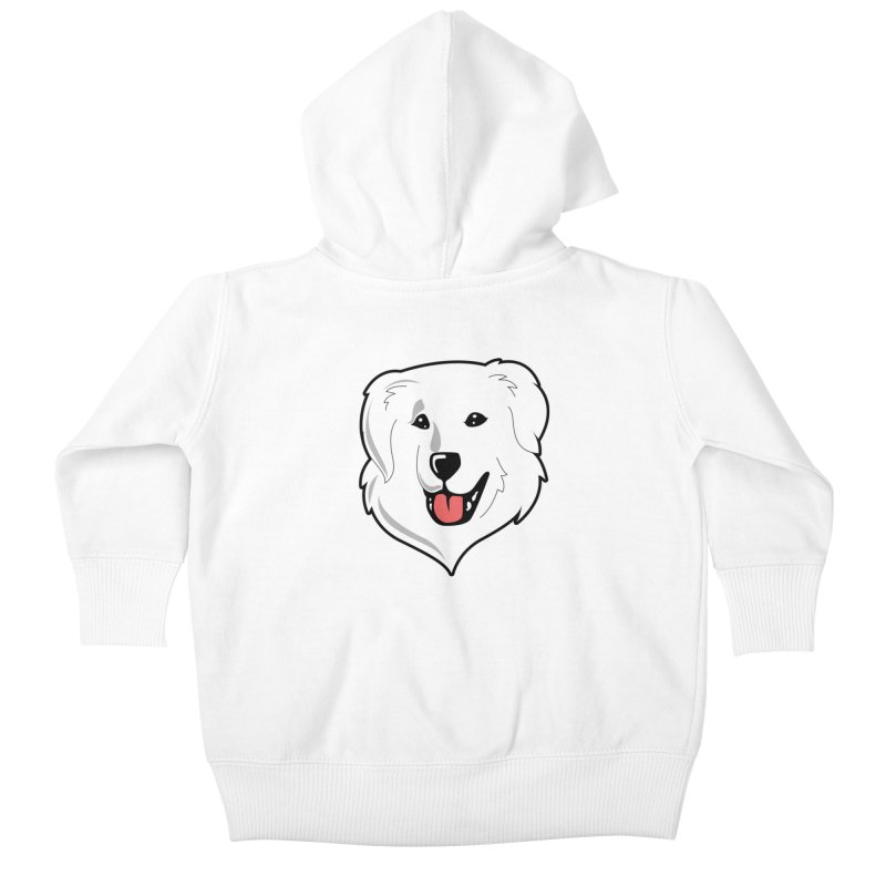 Happy Pyr on white Kids Baby Zip-Up Hoody by Carolina Great Pyrenees Rescue's Shop