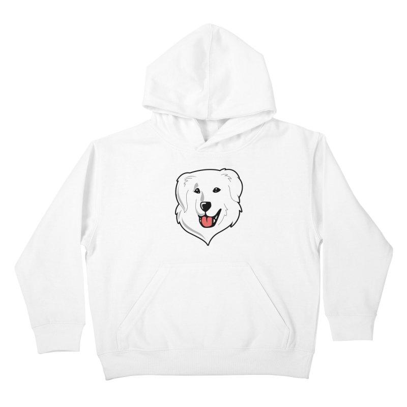 Happy Pyr on white Kids Pullover Hoody by Carolina Great Pyrenees Rescue's Shop