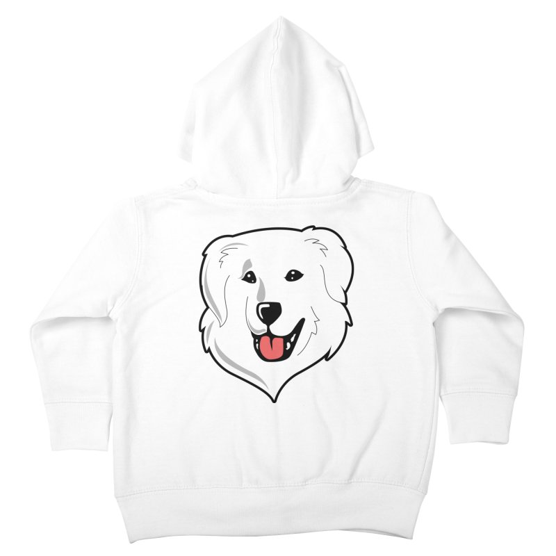 Happy Pyr on white Kids Toddler Zip-Up Hoody by Carolina Great Pyrenees Rescue's Shop