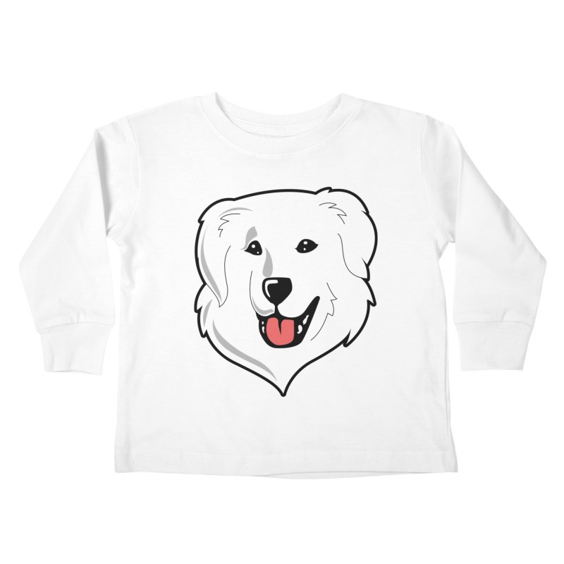 Happy Pyr on white Kids Toddler Longsleeve T-Shirt by Carolina Great Pyrenees Rescue's Shop