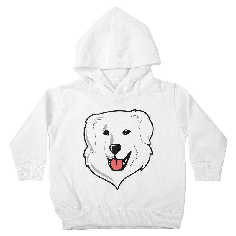 Happy Pyr on white Kids Toddler Pullover Hoody by Carolina Great Pyrenees Rescue's Shop