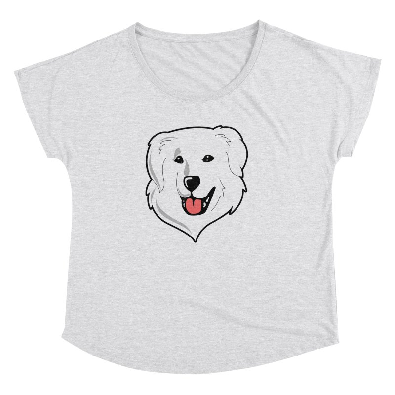 Happy Pyr on white Women's Dolman Scoop Neck by Carolina Great Pyrenees Rescue's Shop