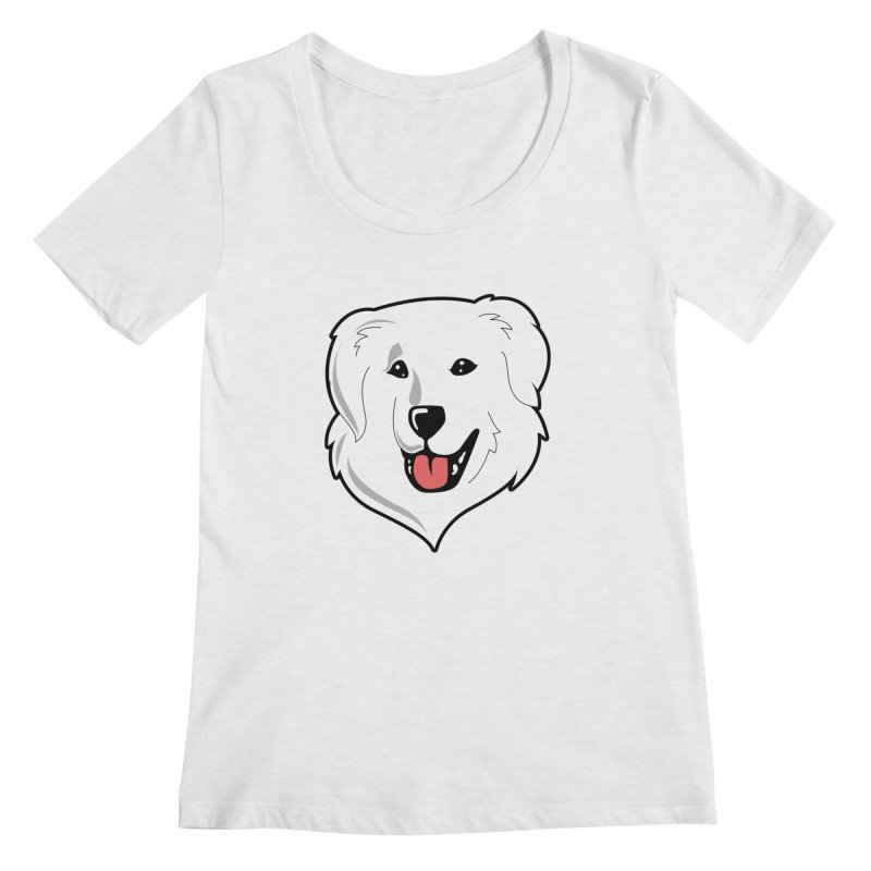 Happy Pyr on white Women's Regular Scoop Neck by Carolina Great Pyrenees Rescue's Shop