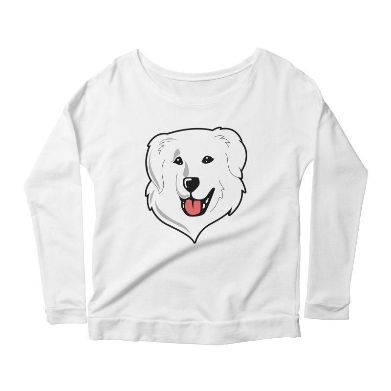 Happy Pyr on white Women's Longsleeve Scoopneck  by Carolina Great Pyrenees Rescue's Shop
