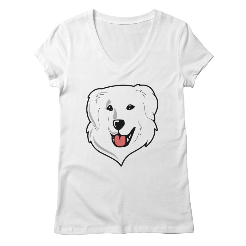 Happy Pyr on white Women's Regular V-Neck by Carolina Great Pyrenees Rescue's Shop
