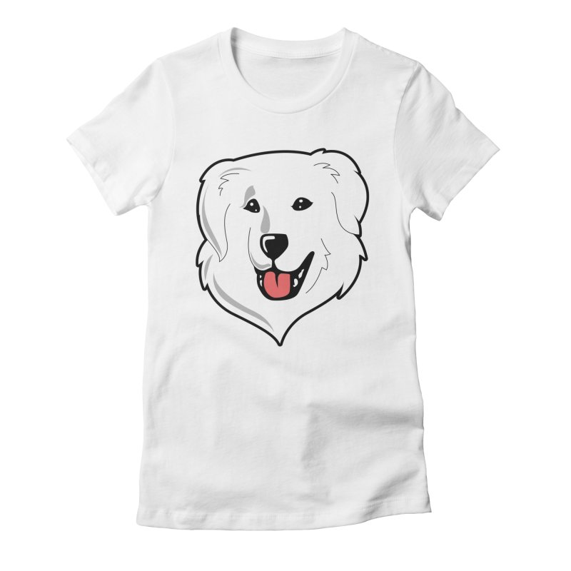 Happy Pyr on white Women's Fitted T-Shirt by Carolina Great Pyrenees Rescue's Shop