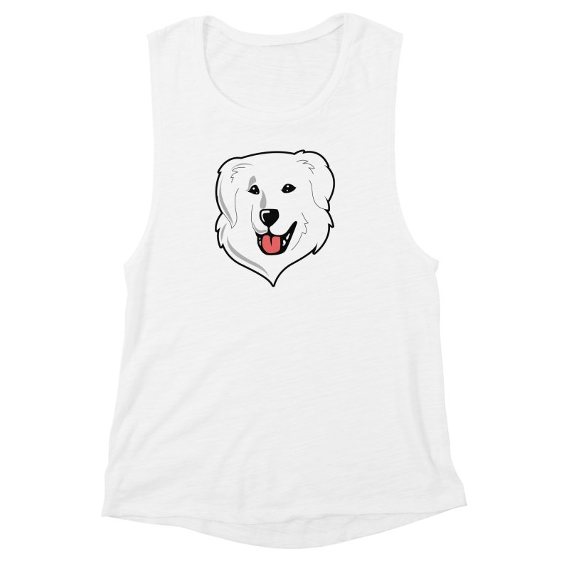 Happy Pyr on white Women's Muscle Tank by Carolina Great Pyrenees Rescue's Shop