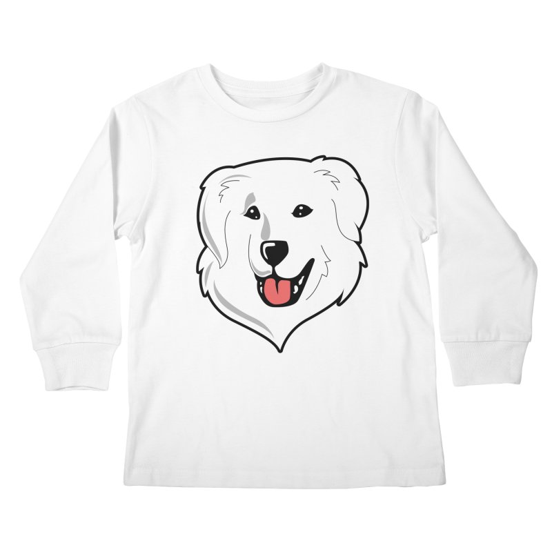 Happy Pyr on white Kids Longsleeve T-Shirt by Carolina Great Pyrenees Rescue's Shop