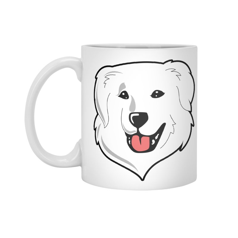 Happy Pyr on white Accessories Mug by Carolina Great Pyrenees Rescue's Shop