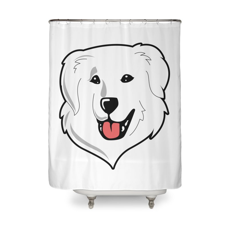 Happy Pyr on white Home Shower Curtain by Carolina Great Pyrenees Rescue's Shop