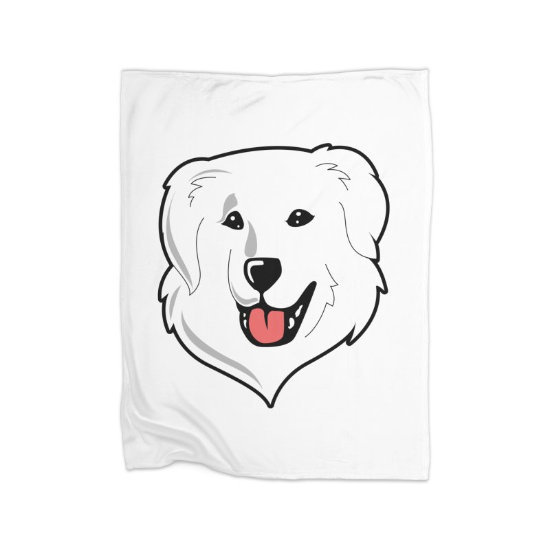 Happy Pyr on white Home Blanket by Carolina Great Pyrenees Rescue's Shop