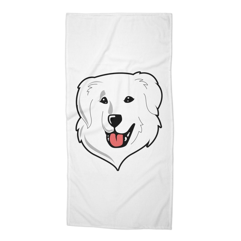 Happy Pyr on white Accessories Beach Towel by Carolina Great Pyrenees Rescue's Shop
