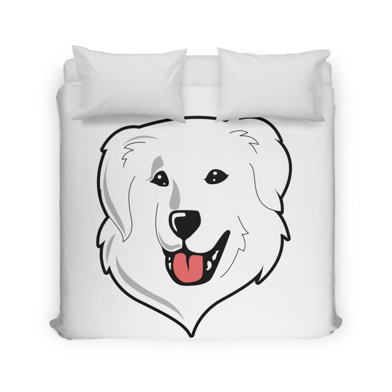 Happy Pyr on white Home Duvet by Carolina Great Pyrenees Rescue's Shop