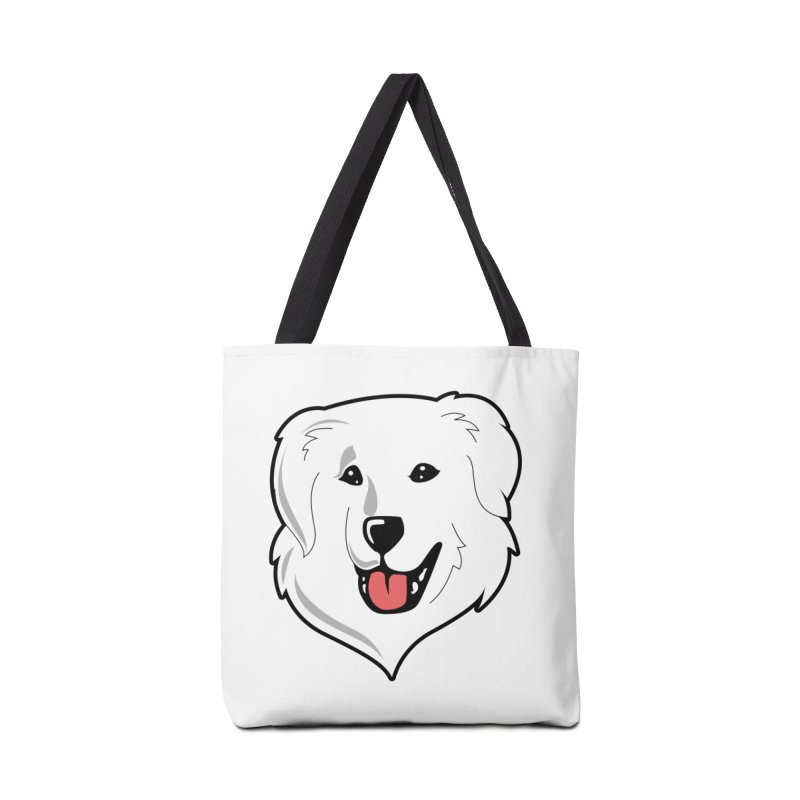 Happy Pyr on white Accessories Bag by Carolina Great Pyrenees Rescue's Shop