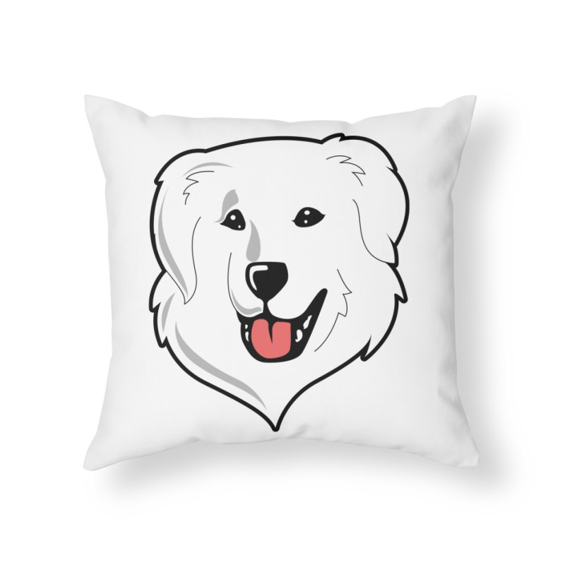 Happy Pyr on white Home Throw Pillow by Carolina Great Pyrenees Rescue's Shop