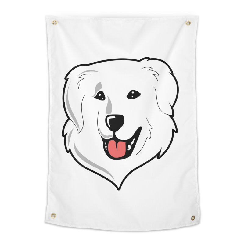 Happy Pyr on white Home Tapestry by Carolina Great Pyrenees Rescue's Shop