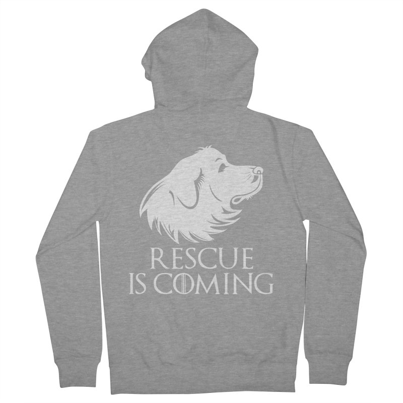 Rescue is Coming Men's French Terry Zip-Up Hoody by Carolina Great Pyrenees Rescue's Shop