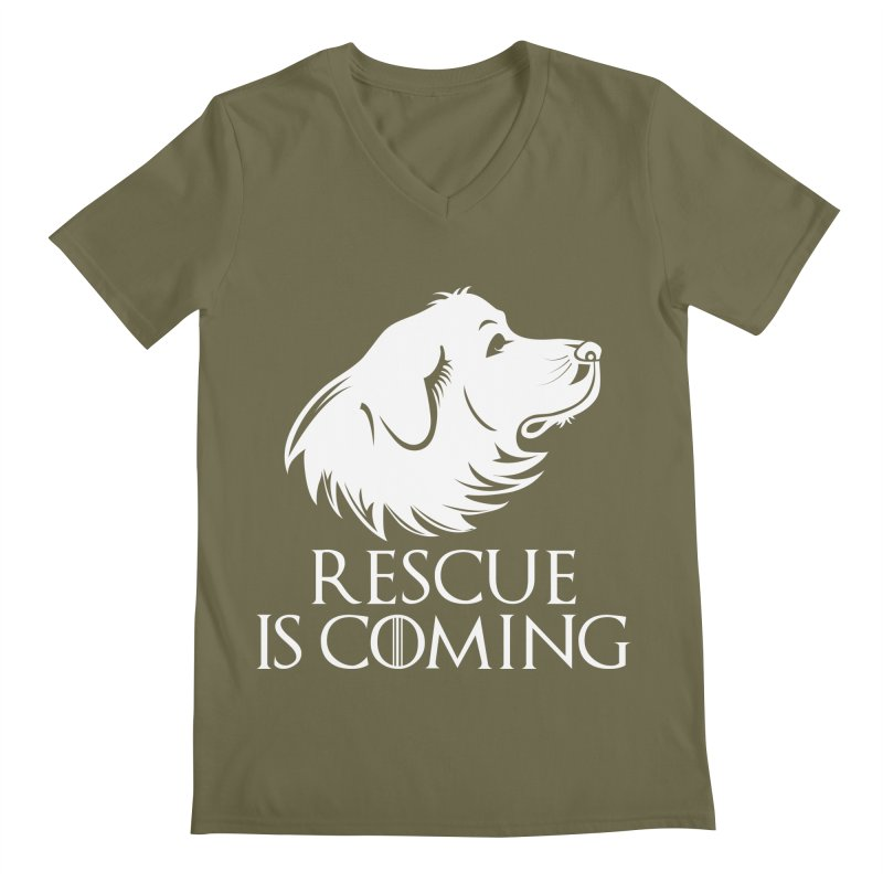 Rescue is Coming Men's Regular V-Neck by Carolina Great Pyrenees Rescue's Shop