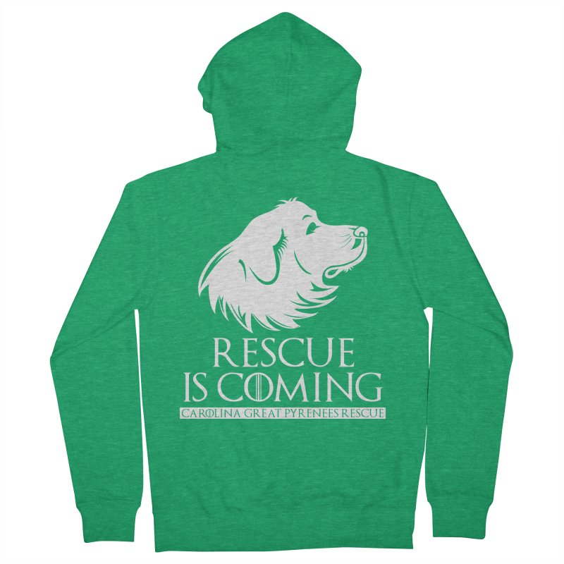 Rescue is Coming CGPR Men's French Terry Zip-Up Hoody by Carolina Great Pyrenees Rescue's Shop
