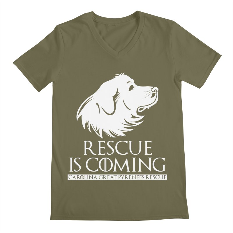 Rescue is Coming CGPR Men's Regular V-Neck by Carolina Great Pyrenees Rescue's Shop