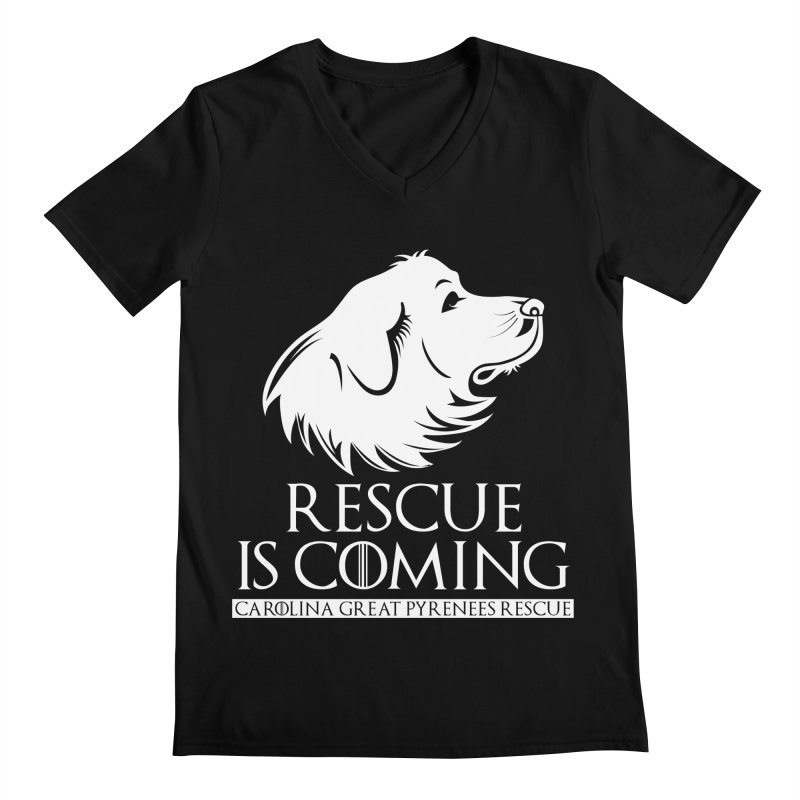 Rescue is Coming CGPR Men's V-Neck by Carolina Great Pyrenees Rescue's Shop