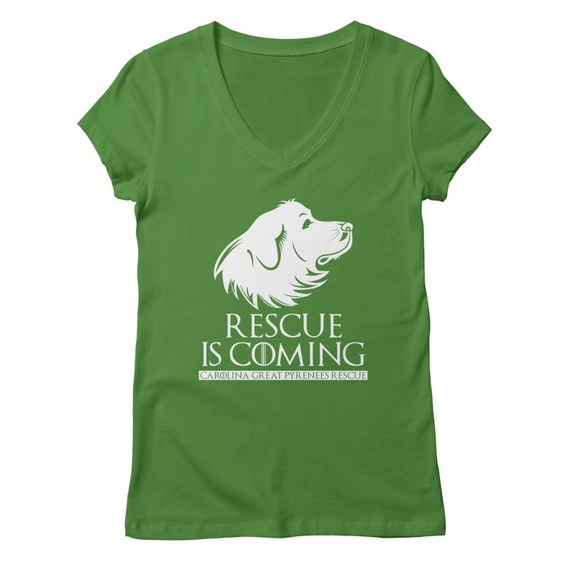 Rescue is Coming CGPR Women's V-Neck by Carolina Great Pyrenees Rescue's Shop