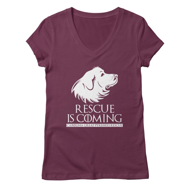 Rescue is Coming CGPR Women's Regular V-Neck by Carolina Great Pyrenees Rescue's Shop