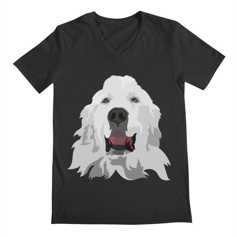 Greatest Pyr Men's Regular V-Neck by Carolina Great Pyrenees Rescue's Shop