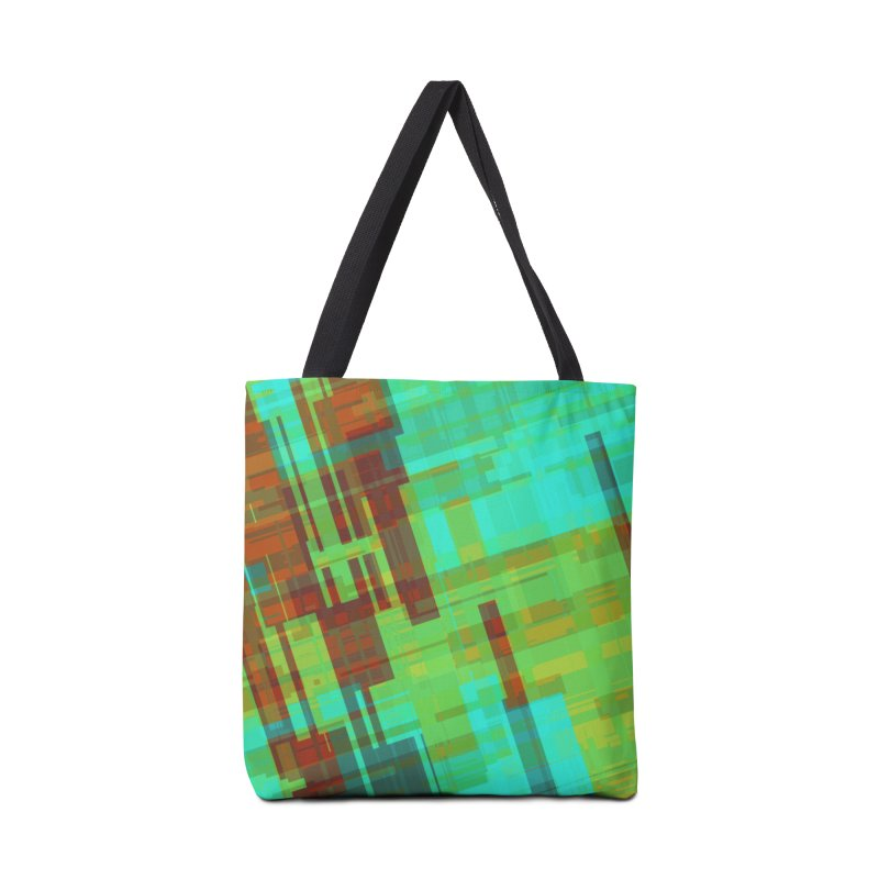 ORange and green abstract Accessories Bag by Christy Leigh Creative