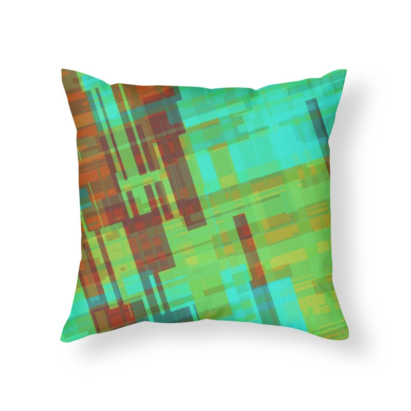 ORange and green abstract Home Throw Pillow by Christy Leigh Creative