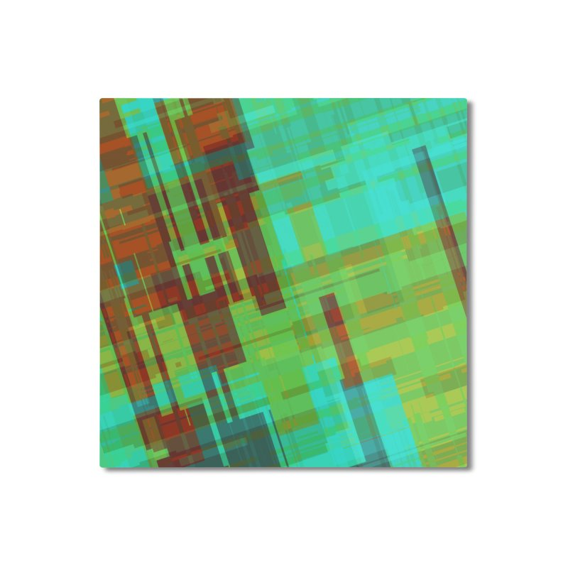 ORange and green abstract Home Mounted Aluminum Print by Christy Leigh Creative