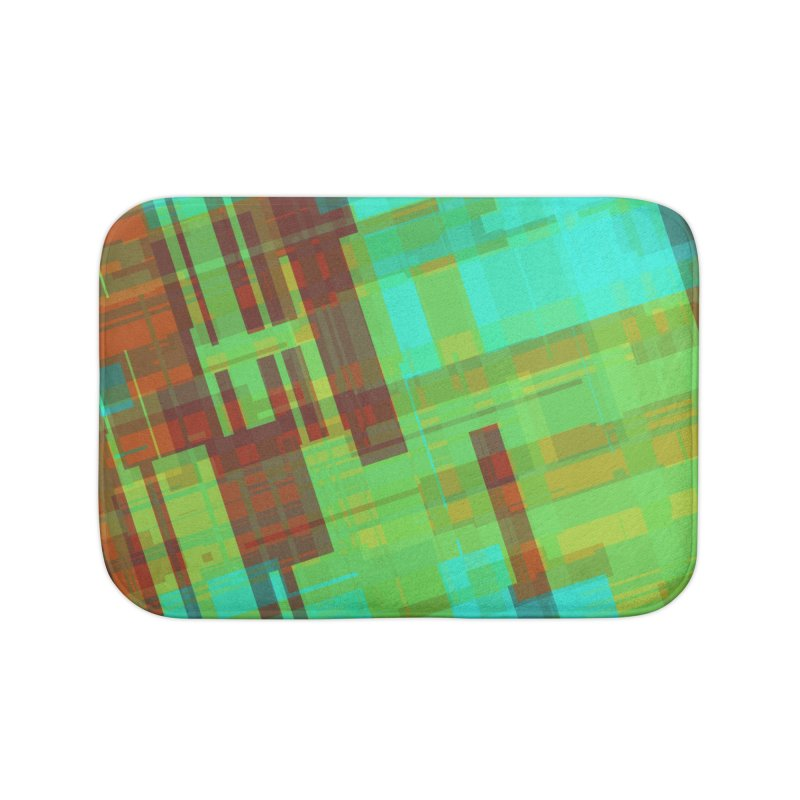 ORange and green abstract Home Bath Mat by Christy Leigh Creative