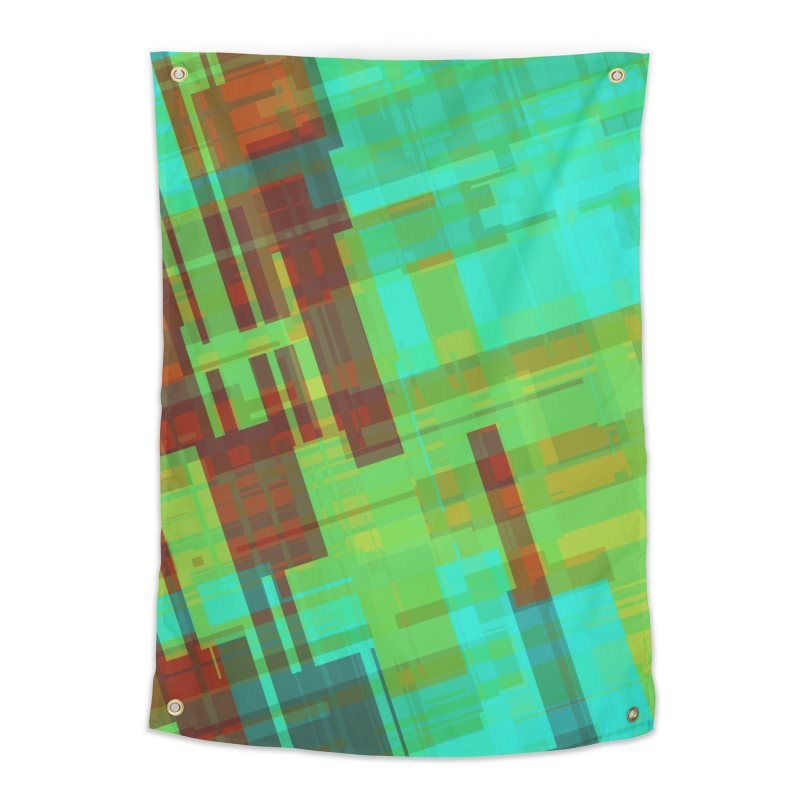 ORange and green abstract Home Tapestry by Christy Leigh Creative